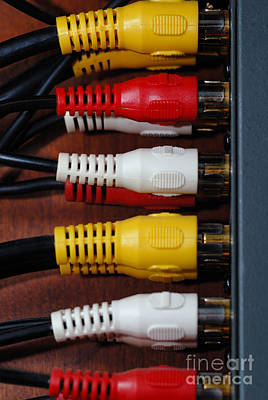 Plug Photograph - Red Yellow And White Cables by Amy Cicconi