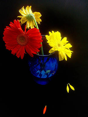 Floral Guest Room Photograph - Red Yellow Blue by Susan Duda
