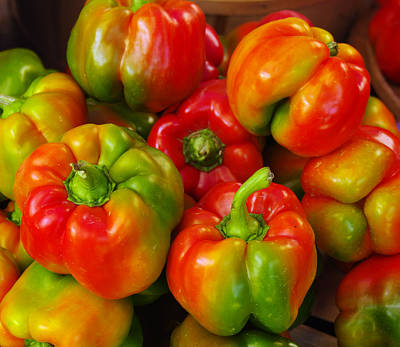 Red-yellow-green Peppers Art Print by John Ayo