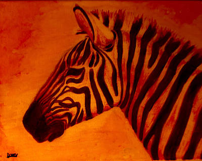 Beast Painting - Red Zebra Rising by Scott Dokey