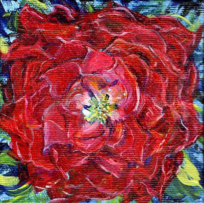 Painting - Red Zinnia Miniature Painting  by Regina Valluzzi