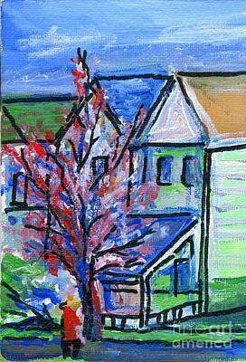 Drawing - Redbud Tree At West Cape May by Eric  Schiabor