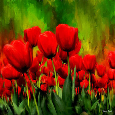 Red Tulip Painting - Reddened By Passion by Lourry Legarde