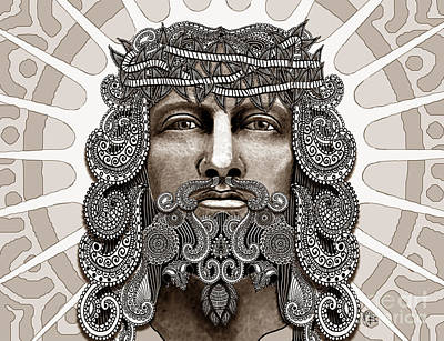Mixed Media - Redeemer - Modern Jesus Iconography - Copyrighted by Christopher Beikmann