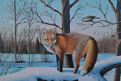 Painting - Redfox And Chickadee by Michael Wawrzyniec