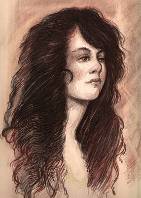 Smiling Jesus Drawing - Redhead Girl by Michael Mynatt