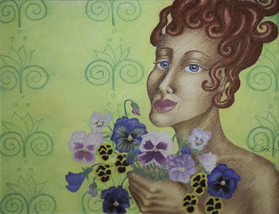 Redhead Holding Pansies Art Print by Claudia Cox