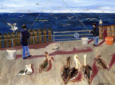 Redondo Beach Pier Wall Art - Painting - Redondo Beach Pelicans by Jamie Frier