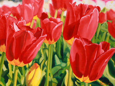 Wooden Shoes Painting - Reds by Guenevere Schwien