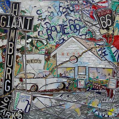 Route 66 Mixed Media - Reds Route 66 Giant Hamburg by Phil Jackson