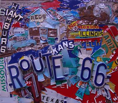 Hamburg Mixed Media - Reds Route 66 License Plate Art by Phil Jackson