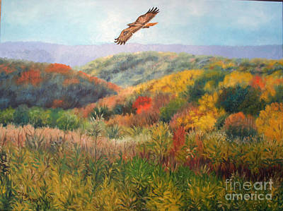 Hawk Hill Painting - Redtailed Hawk by Mary Singer
