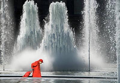 Water Fountain Photograph - Redwalk by Marcel Van Balken