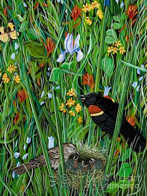 Painting - Redwing Blackbird Nest by Jennifer Lake