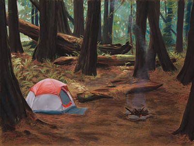 Woods Painting - Redwood Campsite by Christopher Reid