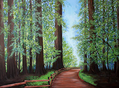 Peaceful Painting - Redwood Forest Path by Penny Birch-Williams