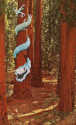 Childish Art Mixed Media - Redwoodz by Blackthorne Designs
