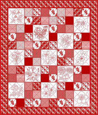 Red And White Quilt Digital Art - Redwork Floral Quilt by Margaret Newcomb