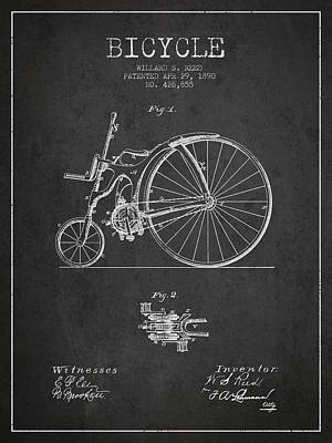 Transportation Digital Art - Reed Bicycle Patent Drawing From 1890 - Dark by Aged Pixel