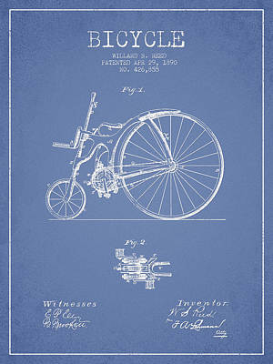 Transportation Digital Art - Reed Bicycle Patent Drawing From 1890 - Light Blue by Aged Pixel