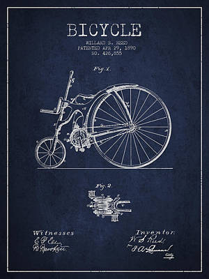 Transportation Digital Art - Reed Bicycle Patent Drawing From 1890 - Navy Blue by Aged Pixel
