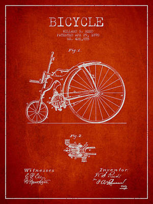 Transportation Digital Art - Reed Bicycle Patent Drawing From 1890 - Red by Aged Pixel
