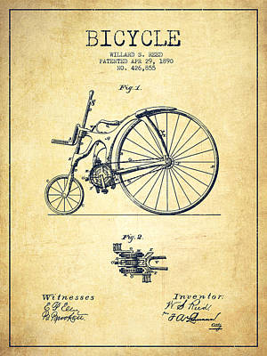 Transportation Digital Art - Reed Bicycle Patent Drawing From 1890 - Vintage by Aged Pixel