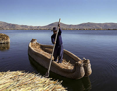 Photograph - Reed Boat at Floating Island Lake Titicaca Peru by Jared Bendis