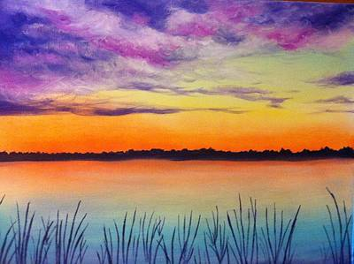 Wet-on-wet-technique Painting - Reed The Sky by Amanda Roche