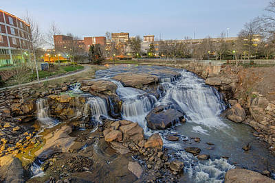Reedy Falls At Dusk In Downtown Greenville Sc Art Print