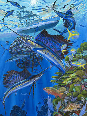 Striped Marlin Painting - Reef Frenzy Off00141 by Carey Chen