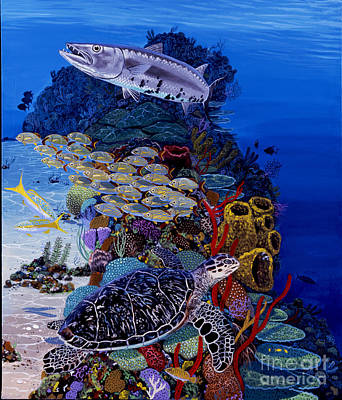 Barracuda Painting - Reefs Edge Re0025 by Carey Chen