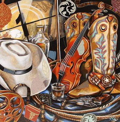 Contemporary Western Art Mixed Media - Reel Cowboy by Katia Von Kral