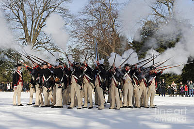 Reenactment Of The Revolutionary War Print by Stocktrek Images