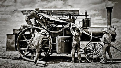 Reeves Steam Traction Engine Changing The Belt Art Print by F Leblanc