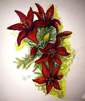Painting - Red Lilies by Rae Chichilnitsky