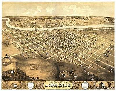 Painting - References - Map Lawrence Ks 1869 by Mary Ellen Anderson