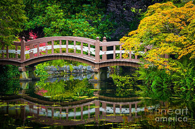 Reflective Photograph - Reflected Bridge by Inge Johnsson