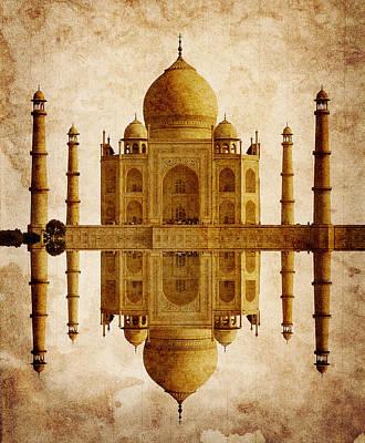 Mausoleum Digital Art - Reflected Taj Mahal by Daniel Hagerman