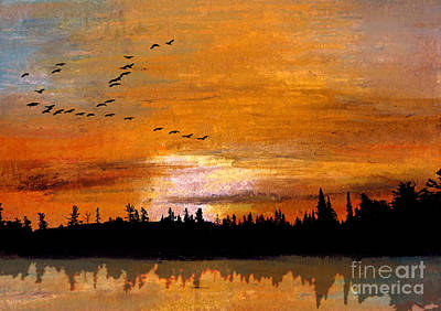 Copper Sunset Mixed Media - Reflected Wood by R Kyllo