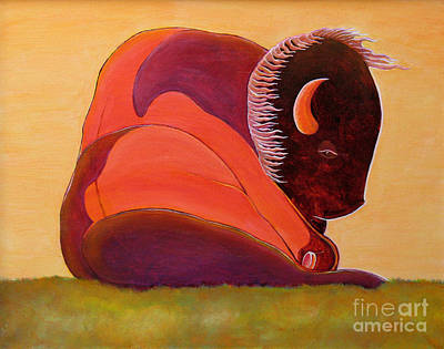 Indian Contemporary Artist Painting - Reflecting Buffalo by Joseph J Stevens