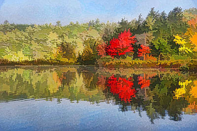 Digital Art - Reflecting On Fall - Autumn Lake Impressions by Georgia Mizuleva