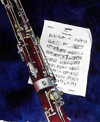 Bassoon Painting - Reflecting On Music by Linda Parisi