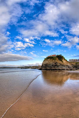 Photograph - Reflecting On Towan Beach - Newquay by Mark E Tisdale