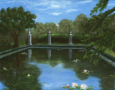 Lilly Pond Drawing - Reflecting Pool by Anastasiya Malakhova