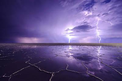 Photograph - Bonneville Salt Flats Reflecting Storm by Dustin  LeFevre