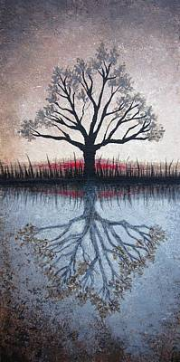 Print featuring the painting Reflecting Tree by Janet King