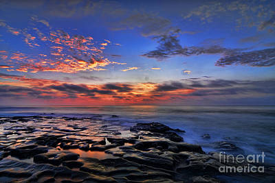 Sunset At Tide Pools At La Jolla Art Print by Peter Dang