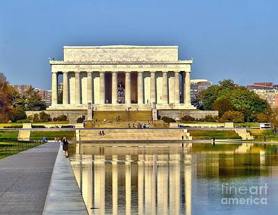 Photograph - Reflection At The Lincoln Memorial  by Nick Zelinsky