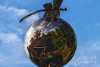 Photograph - Reflection Ball-dragon Flys Reflection by Peggy Franz